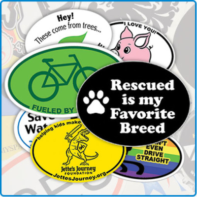 custom printed oval stickers for non-profits charities