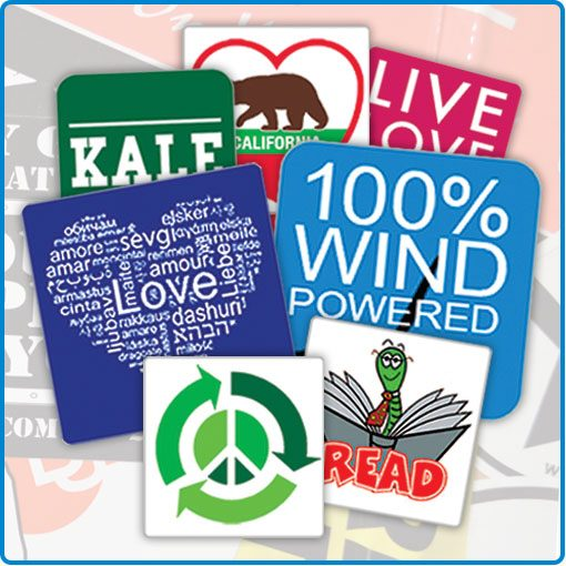 square stickers printed for non-profits charities